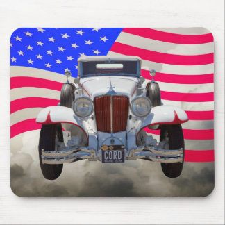 1929 Cord 6-29 Cabriolet and American Flag Mouse Pad