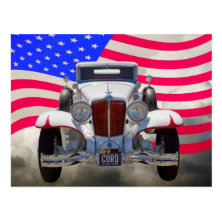 1929 Cord 6-29 Cabriolet and American Flag Postcard