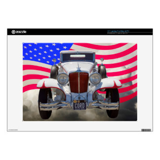 1929 Cord 6-29 Cabriolet and American Flag Skins For Laptops