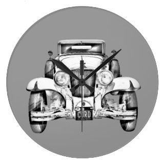 1929 Cord 6-29 Cabriolet Antique Car Illustration Large Clock