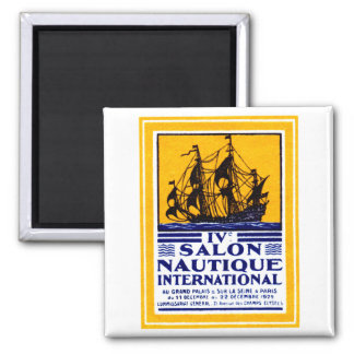 1929 Paris Nautical Show Poster 2 Inch Square Magnet