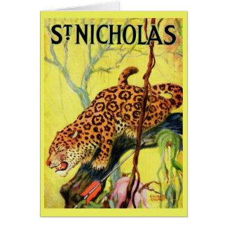 1929 St. Nicholas magazine cover leopard Card