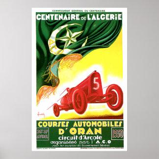 1930 Algerian Grand Prix Ad Poster