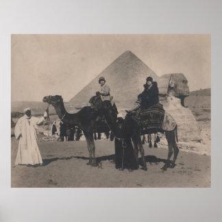 1930 Flapper Girls on camels Egypt Pyramids Print