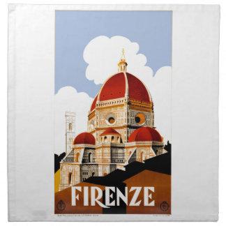 1930 Florence Italy Duomo Travel Poster Cloth Napkin