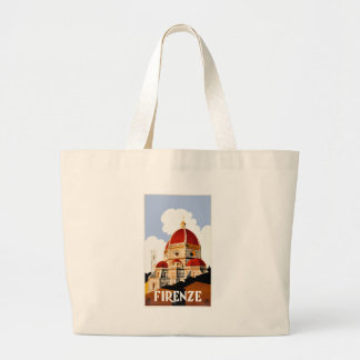 1930 Florence Italy Duomo Travel Poster Large Tote Bag