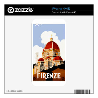 1930 Florence Italy Travel Poster Decals For The iPhone 4S