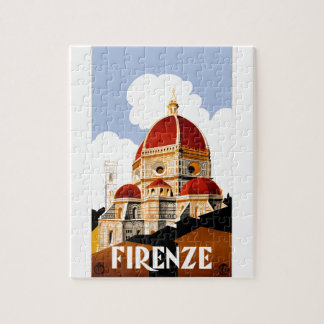 1930 Florence Italy Travel Poster Jigsaw Puzzle