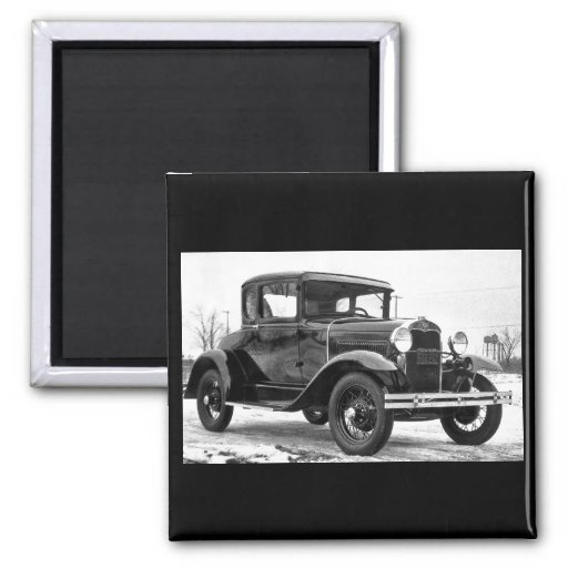 1930 Ford Model A Coupe - B&W Refrigerator Magnet