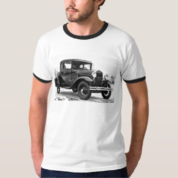 Christmas Themed 1930 Ford Model A Coupe - B&W T-Shirt