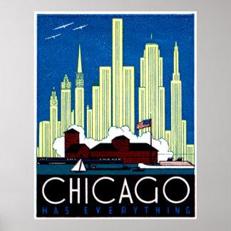1930 Visit Chicago Poster