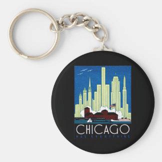 1930 Visit Chicago Poster Basic Round Button Keychain