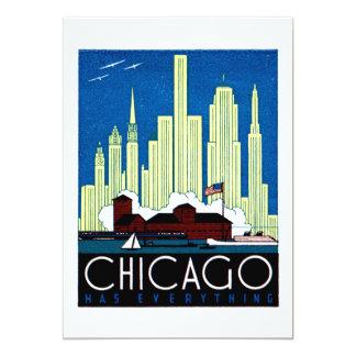 "1930 Visit Chicago Poster 5"" X 7"" Invitation Card"