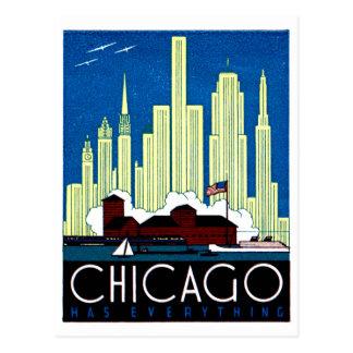 1930 Visit Chicago Poster Postcard