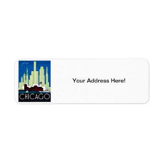 1930 Visit Chicago Poster Return Address Label