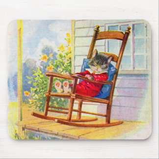 1930s adorable kitten napping on porch rocker mouse pad