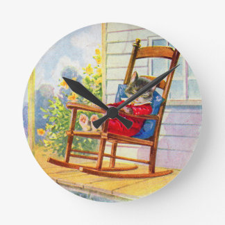 1930s adorable kitten napping on porch rocker round clock