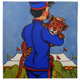 1930s adorable leopard cub carried by zookeeper cloth napkin
