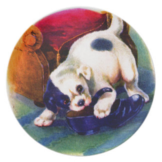 1930s adorable puppy no. 3 chewing on a shoe melamine plate