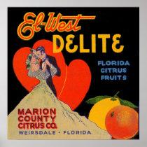1930s art deco El-West Delite Florida Citrus Fruit Poster