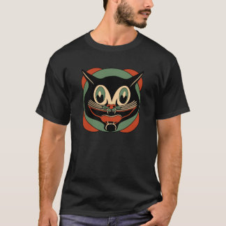 1930s Art Deco Halloween Black Cat T-Shirt
