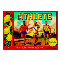 1930s Athlete fruit crate label Poster