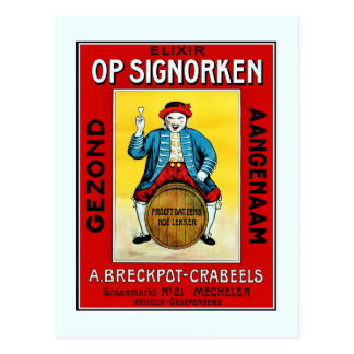1930s Belgian liqueur with Mechelen doll ad Postcard