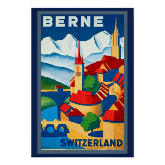 1930's Berne Switzerland Travel Poster Beautiful!