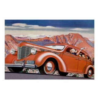 1930's Blonde in a Red Motor Car Poster
