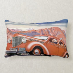 1930's Blonde in a  Red Motor Car Throw Pillow