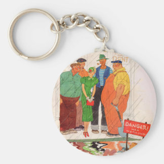 1930s burly men and pretty lady keychain