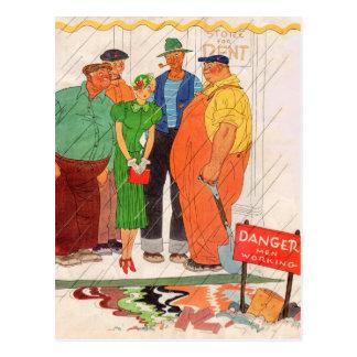 1930s burly men and pretty lady postcard