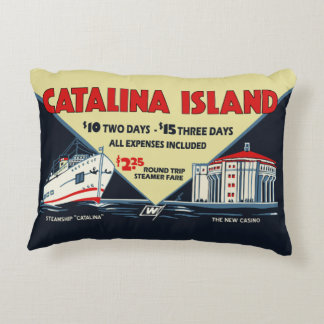 1930s Catalina Island Promotional Art Accent Pillow
