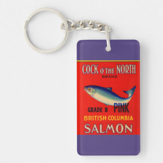 1930s Cock o' the North salmon can label Keychain