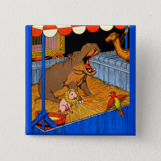 1930s crying hippopotamus and friends pinback button
