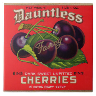 1930s Dauntless Cherries in Heavy Syrup can label Ceramic Tile