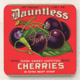 1930s Dauntless Cherries in Heavy Syrup can label Coaster