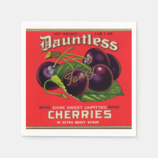 1930s Dauntless Cherries in Heavy Syrup can label Napkin