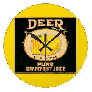 1930s Deer Brand Grapefruit Juice label Large Clock