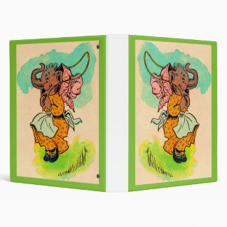 1930s dressed elephant playing jump rope 3 ring binder