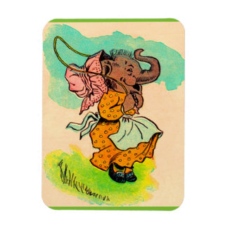 1930s dressed elephant playing jump rope magnet