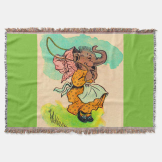 1930s dressed elephant playing jump rope throw blanket