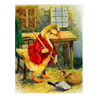 1930s duck sweeping the floor postcard