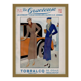 1930s Fashion Ad from a Dutch magazine 1933 Poster