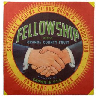 1930s Fellowship Orange County Citrus label Cloth Napkin