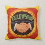 1930s Fellowship Orange County Citrus label Throw Pillow