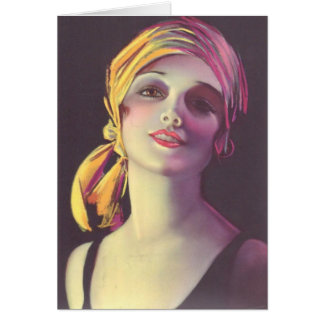 1930's Gypsy Glamour Girl Greeting Card