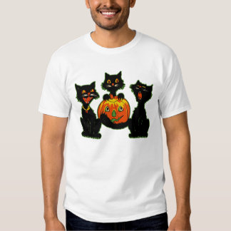 1930s Halloween Black Cats With Jack O'Lantern T-shirt
