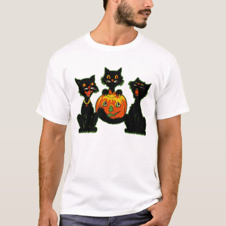 1930s Halloween Black Cats With Jack O'Lantern T-Shirt