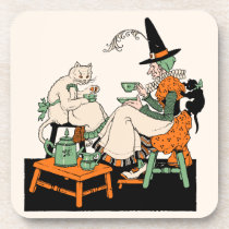 1930s Halloween Witch Sharing Tea with Her Cats Beverage Coaster